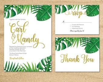 Tropical Wedding invitation, Destination Wedding, Beach Wedding, Tropical Palm Leaves, Green leaves invitation, Hawaii Wedding, Printable