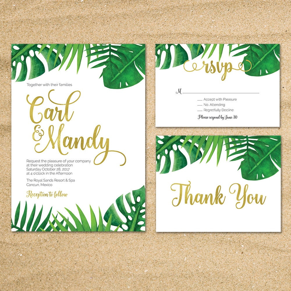 Tropical Wedding invitation Destination Wedding Beach