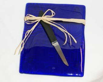 Blue Glass Cheese Plate Made From a Blue Wine Bottle
