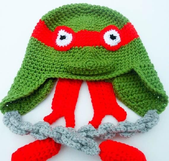 Crochet Pattern Teenage Mutant Ninja Turtles Hat Tmnt Earflap Beanie
