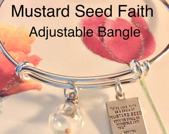Mustard Seed Jewelry Charm Bracelet,  Bangle Bracelet, Adjustable, Gift of  Inspiration Encouragement, Women, Girl, Teen, Sizes