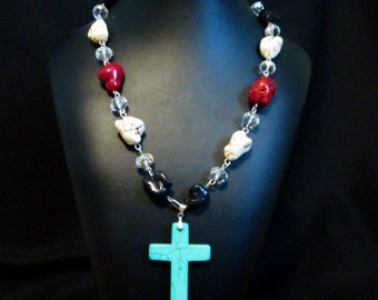 Blue Turquoise Cross Western Necklace