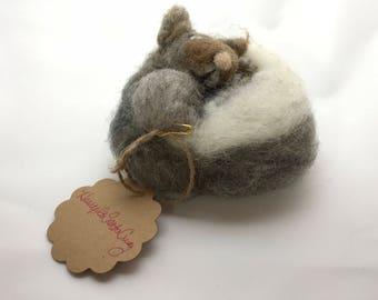 Needle Felted Squirrel, Sleepy Squirrel, Handmade Squirrel