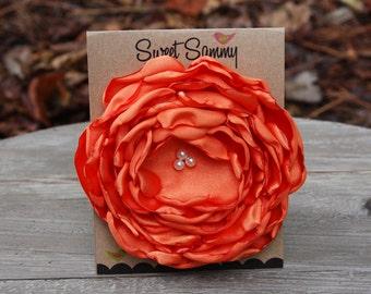 34 Colors Large Satin Flower Pin, Orange Satin Flower Pin