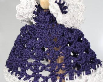 Navy Blue Crocheted Clothespin Angel