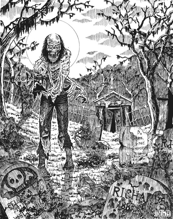 Black and white zombie art print graveyard walker