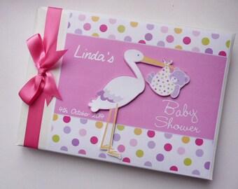 Girls Personalised Stork Baby Boy Shower Guest Book /Memory Album Scrapbook Gift