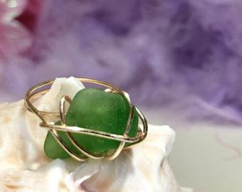 Beach glass ring Ready to ship! Copper wire wrapped sea glass seaglass beachglass Custom jewelry Custom made jewelry Wire wrapping Wire wrap