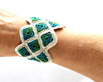 Crochet Cuff Bracelet Fiber Bracelet Miniature Granny Square Crochet Bracelet in Ecru and Shades of Green