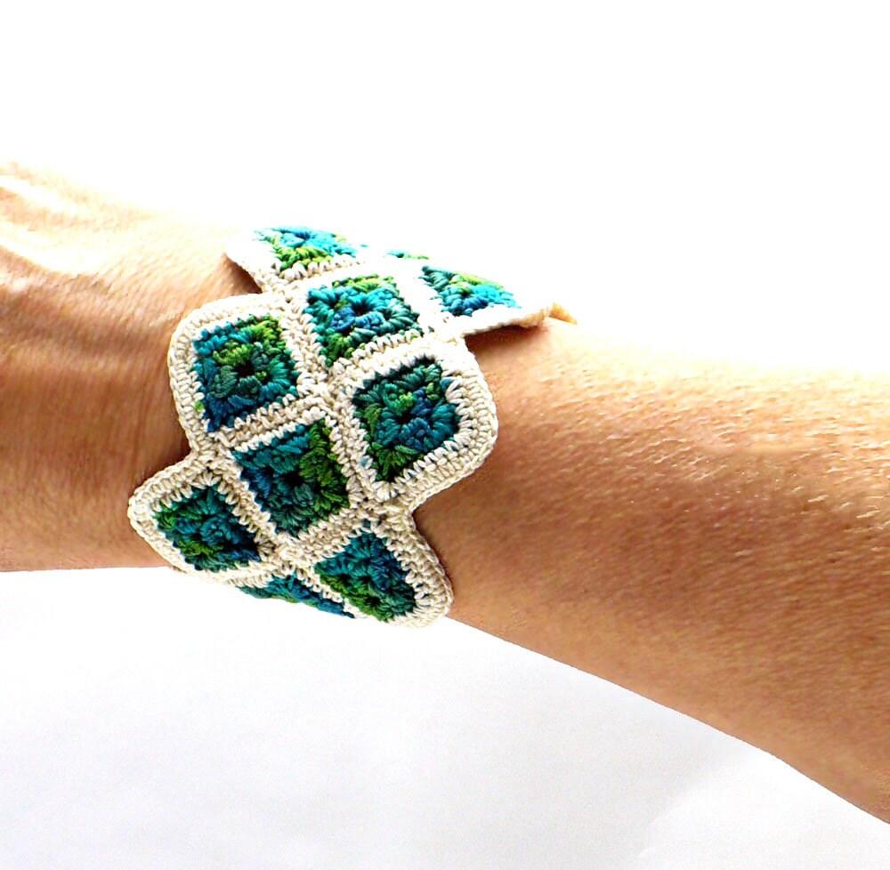 Crochet Cuff Bracelet Fiber Bracelet Miniature Granny Square