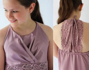 Girls sewing pattern, girls dress pattern, bridesmaid dress pattern, flower girl dress pattern, girls lace top pattern, TAHLIA TOP & DRESS