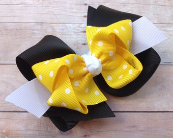 4 inch double boutique black & yellow hair bow - hair bows, girls hair bows, toddler hair bows, big hair bows, boutique hair bows, hair bow