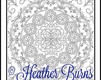 Coloring Page/Flower Mandala to Color/Adult Coloring/Mandala Coloring/Colouring Page