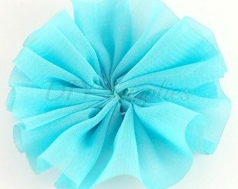 Aqua blue chiffon flower - 2 inch fabric flower - Ballerina ruffle flower - Wholesale flowers - Appliqué flower - Hair flower