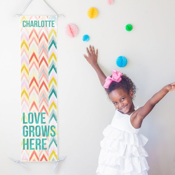Love Grows Here chevron canvas growth chart in pastels - perfect girl nursery decor or baby shower gift