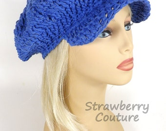 Royal Blue Womens Crochet Hat Womens Hat Trendy,  Crochet Beanie Hat,  Blue Hat in Cotton Yarn,  Annie Newsboy Hat