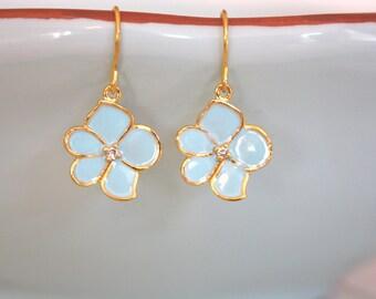 Gold Earrings Light Blue Wedding, Bridesmaid gift, Flower Girl Earrings Gifts for Teens Dainty Gold Earrings Floral Earrings Nature Jewelry