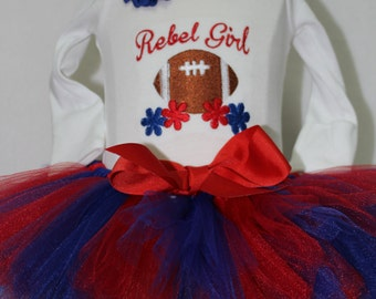 Ole Miss, Mississippi, Rebels, red, blue, white, baby girl clothes, baby girl gift, baby shower gift, new baby gift, bodysuit, baby tutu