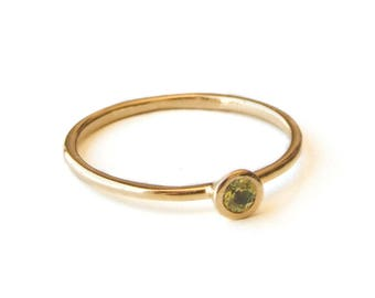 Peridot Ring, Thin Gold Ring, August Birthstone Ring, Mothers Ring, Personalized Jewelry, Dainty Stacking Ring, Gold Ring, Birthstone Ring