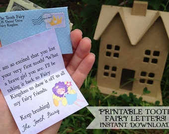 INSTANT Tooth Fairy Printable Letters - Girls - INSTANT DOWNLOAD