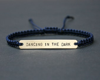 Dancing In The Dark Sterling Silver or Brass and Macramé Bracelet, Choice Of Colours Available