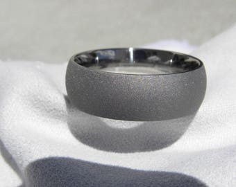 Titanium Ring, Wedding Band, 8mm, size 12.5, Sandblasted, Clearance Listing