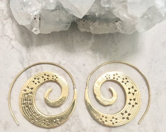 Brass cosmic spiral shooting star earrings
