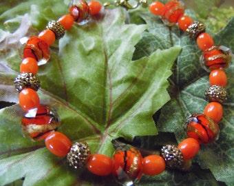 Handmade Beaded Bracelet Orange 8 Inches