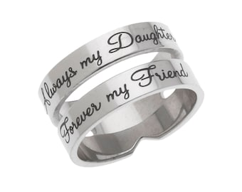 High Polished Stainless Steel Always My Daughter, Forever My Friend, Daughter's Ring, Daughter's Jewelry from Mom