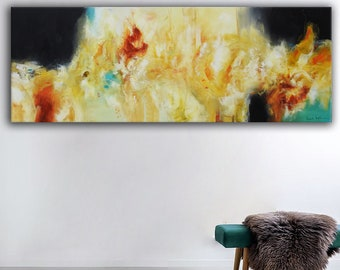 Abstract large painting, original painting on canvas, mixed media on canvas, gold aqua blue abstract, yellow painting, large art, modern art