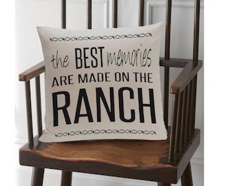 Ranch Decor Pillow, Western Pillow, Burlap Pillow, Country Pillow, Farmhouse Chic, Rustic Pillows, Pillows with Words, Burlap Throw Pillow