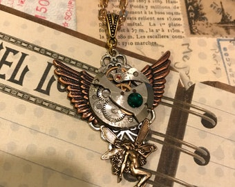 Steampunk Jewelry, Fairy Jewerly, Birthstone Jewelry,  Steampunk Necklace, Jewelry, Gothic, Punker, Neo Victorian, Winged Necklace