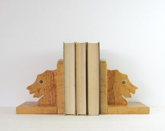 Vintage Scottish Terrier Dog Bookends - Birdseye Maple Wood Home Decor - Scottie Dog Decor - Wood Sculpture Bookshelf Decor Book Organizers