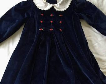 Vintage Little Bitty Navy Velvet Dress
