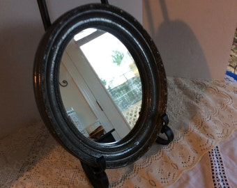 Vintage Black Ornate Oval Wall Mirror, Wooden Frame, Shabby Chic Style Mirror, Bedroom Decor