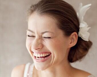 """Feather Headpiece, Hair Flower Wedding - """" Stella"""""""