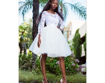 Knee length Ivory Tulle Wedding Skirt  Modern Bride