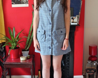 60s navy wool houndstooth button up mod mini shift dress 12