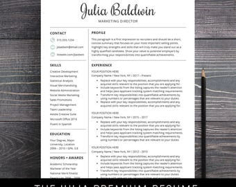 Professional Resume Template for Word and for Mac Pages Creative CV Template Instant Download Teacher Nurses - The Julia