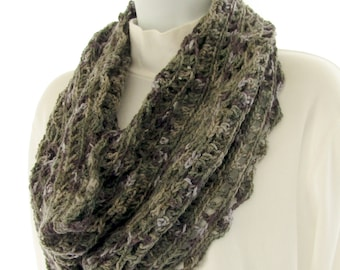 """Hand Crocheted Cowl, Yarn Color """"Mithril"""" and """"Sapphire"""" Wool and Acrylic"""