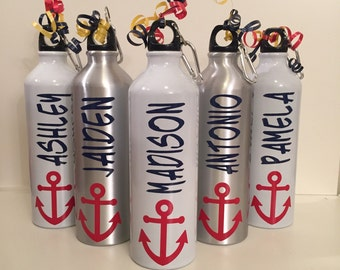 Personalized Aluminum Water Bottle for sports, coaches, cheerleading, nautical