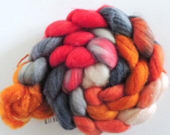 merino silk,Rosenelfenmalerin, top, handpainted fiber for spinning, 4,2oz