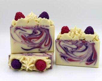 Soap, Black Raspberry Vanilla Soap, Cold Process Soap, Handmade Soap, Berry Soap, Artisan Soap, Bath Soap, Natural Soap, Full or Half Bar