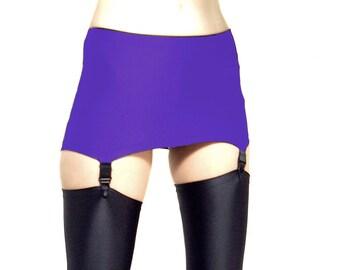 Purple shiny spandex pull on suspender belt