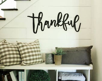 thankful | 3D word | cutout word | wooden word | gallery wall