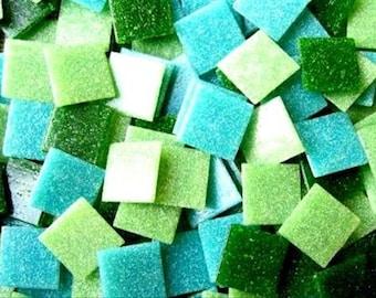 Mosaic Tiles Mixed 2cm Vitreous Green 200 tile pack