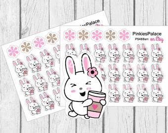 Bunny Coffee Planner Stickers Rabbit Stickers