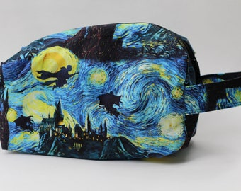 Starry Night Harry Potter Medium Knitting & Crochet Project/Toiletry Box Bag