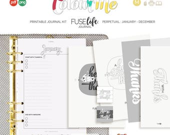 A5 + Half Letter Printable Color In Mindfulness Journal Kit : Medium FUSElife ColourMe > inc psd and tif layered templates (jes0570)