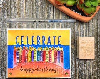 Happy Birthday Celebrate Candles Watercolor Fancy Greeting Card Handmade in Blue Red Orange Yellow for Wife Girlfriend Husband Boyfriend